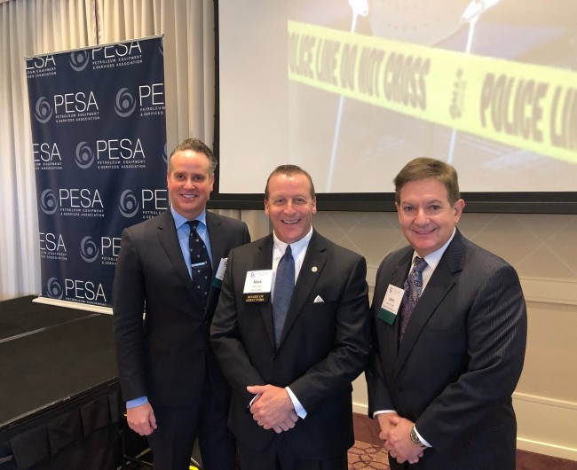 LEFT to RIGHT: Ashley Yablon, General Counsel for Moroch Holdings, Inc.; PESA Board Member Mark Wolf, VP Legal, Surface Technologies & North American Regional Business Unit, TechnipFMC; Lawrence Finder, Partner, Baker & McKenzie