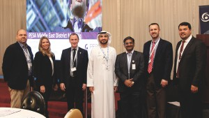 Steve Abbiss, TechnipFMC; Leslie Shockley Beyer, PESA; PESA Board Member Richard Alabaster, TechnipFMC; PESA Advisory Board Member Scott Livingston, National Oilwell Varco; and PESA Middle East Committee Chair Dennis Jol, DistributionNOW