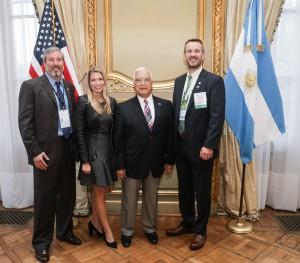 LEFT to RIGHT: Federico Medrano, Exterran; PESA President Leslie Beyer; U.S. Ambassador to Argentina Edward Prado; Scott Livingston, NOV