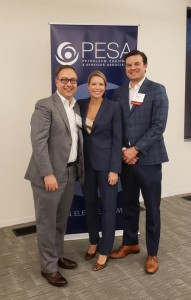 LEFT to RIGHT: Marco Caccavalle, Baker Hughes; PESA President Leslie Beyer; Emerging Executives Committee Chair Andrew Little, Premium Oilfield Technologies